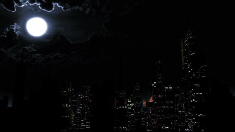 4 K Modern City Power Outage Energy Blackout at Night 3 Animation