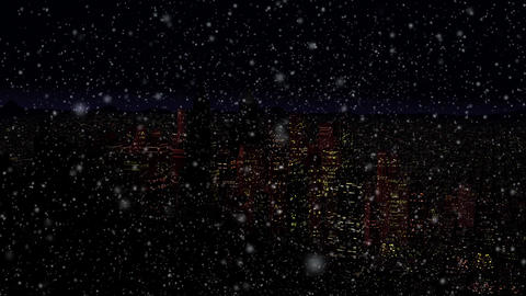 4 K Modern City Power Outage Energy Blackout at Night v 2 10 snowfall Animation