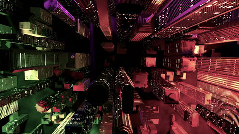 Modern City Lit by Colorful Light Effects at Night Aerial View 2 zoom out Animation