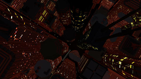 Modern City Lit by Colorful Light Effects at Night Top View 3 zoom out Animation