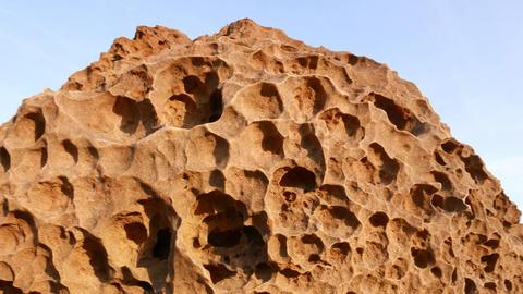 Eroded stone hard surface remains, sponge shape after years of erosion Footage
