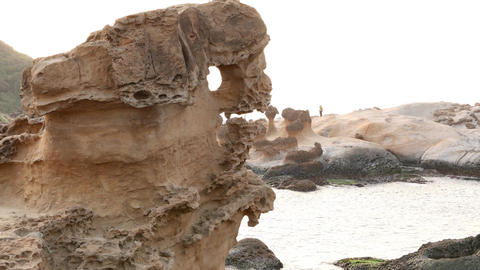 Closeup eroded sandstone formation at Yehliu Geopark cape Footage