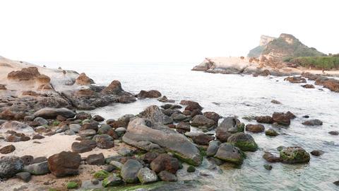 East China Sea waters, small bay aside Mushroom rock group Footage