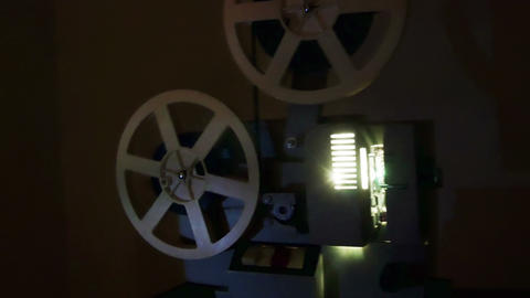 Old Film Projector. Countdown With Green Screen Transition Live Action
