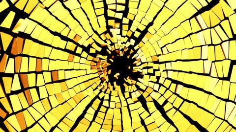 Broken golden glass: destruction with shallow DOF Stock Video Footage