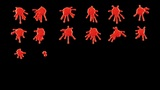 Set of red blobs or ink splashes. Alpha is included Animation
