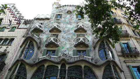 Barcelona Gaudi House 01 Stock Video Footage