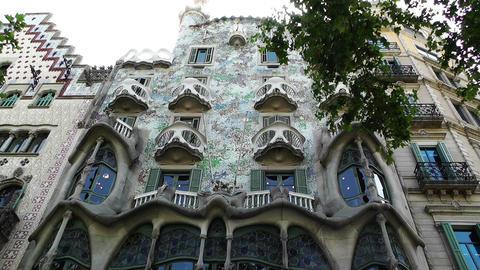 Barcelona Gaudi House 01 Stock Video Footage