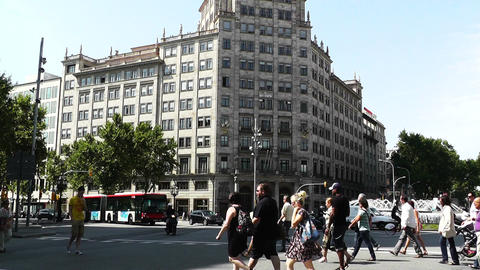 Barcelona Gran Via and Passeig De Gracia crossing 01 Stock Video Footage