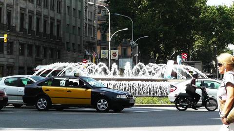 Barcelona Gran Via and Passeig De Gracia crossing 03 Stock Video Footage