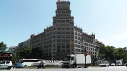Barcelona Gran Via and Passeig De Gracia crossing 05 Stock Video Footage