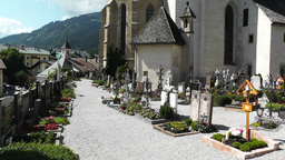 Cemetery in the European Alps 02 Stock Video Footage