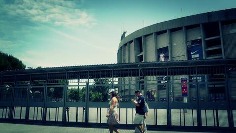 Estadi Camp Nou 08 pan stylized Stock Video Footage