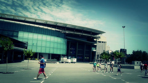 Estadi Camp Nou10 stylized Stock Video Footage