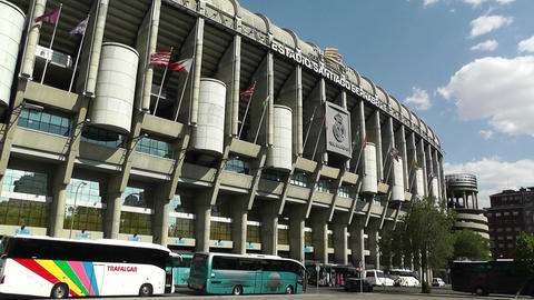 Estadio Santiago Bernabeu Madrid 08 pan Stock Video Footage