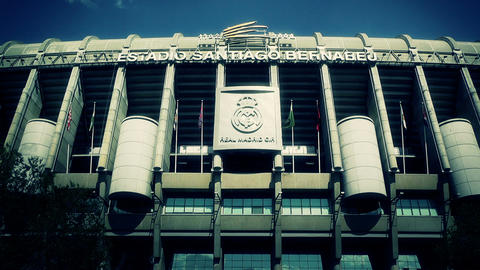 Estadio Santiago Bernabeu Madrid 14 stylized Stock Video Footage