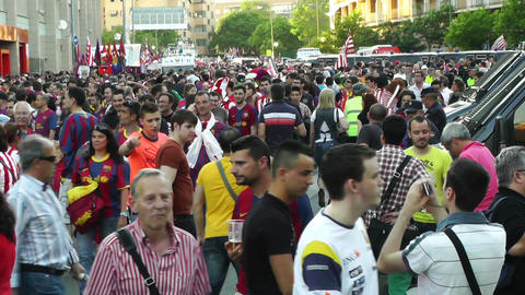 Estadio Vicente Calderon before match Copa Del Rey Final 2012 12 Barca Fans handh Footage