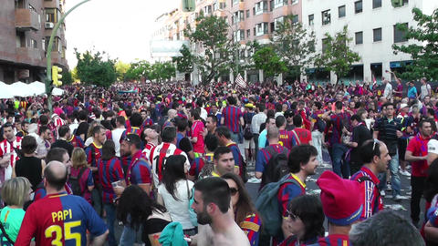 Estadio Vicente Calderon before match Copa Del Rey Final 2012 14 Barca Fans handh Footage