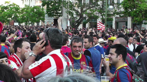 Estadio Vicente Calderon before match Copa Del Rey Final 2012 16 Barca Fans handh Footage