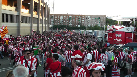 Estadio Vicente Calderon before match Copa Del Rey Final 2012 18 Bilbao Fans hand Footage