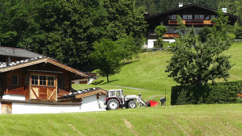 European Alps Austria 11 tractor Stock Video Footage
