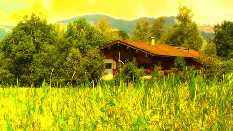 European Alps Austria 35 house stylized Stock Video Footage