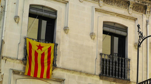 Facade in Catalonia with Catalan Flag in Spain 01 Stock Video Footage