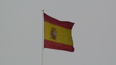 Flag of Spain 02 zoom in and out to Palazzo Reale Stock Video Footage