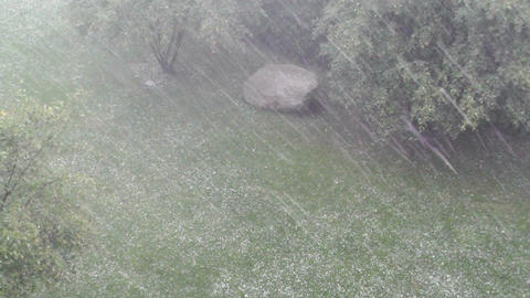 Heavy ThunderStorm 09 hailstones Stock Video Footage