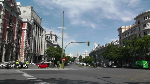 Madrid Calle De Alcala and Gran Via crossing 01 Stock Video Footage