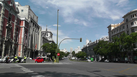 Madrid Calle De Alcala and Gran Via crossing 01 Stock Video Footage