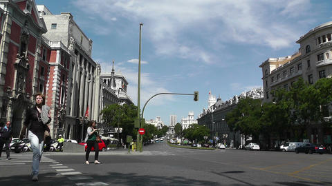 Madrid Calle De Alcala and Gran Via crossing 01 Footage