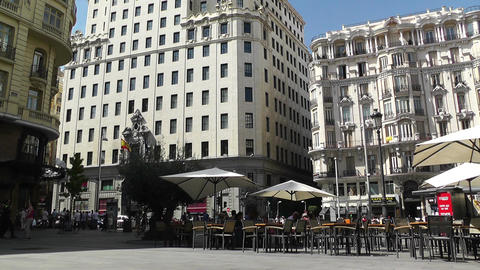 Madrid Calle De La Montera and Gran Via crossing 01 Stock Video Footage