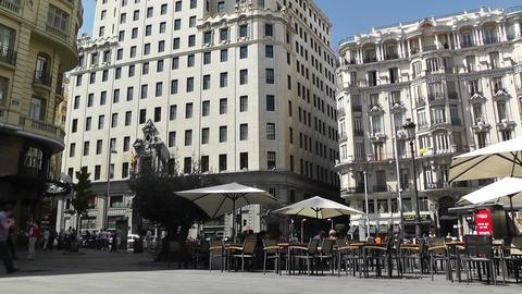 Madrid Calle De La Montera and Gran Via crossing 01 Stock Video Footage