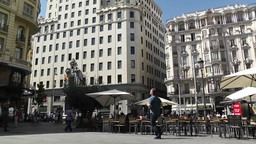 Madrid Calle De La Montera and Gran Via crossing 01 Footage
