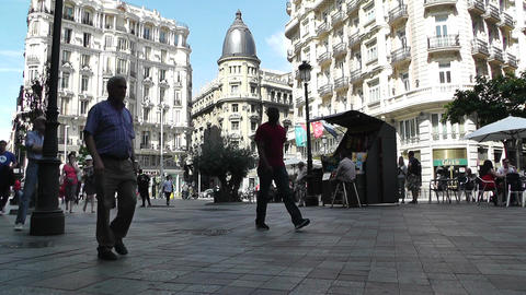 Madrid Calle De La Montera and Gran Via crossing 03 Stock Video Footage