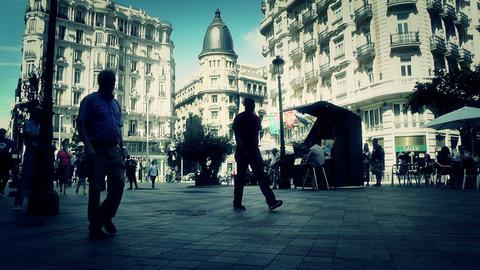 Madrid Calle De La Montera and Gran Via crossing 04... Stock Video Footage
