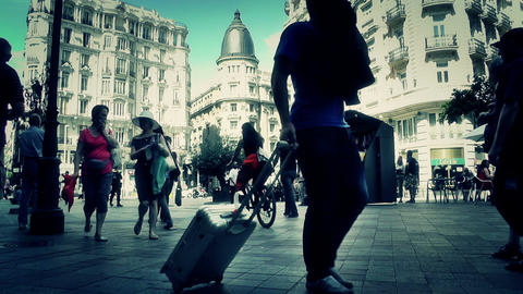 Madrid Calle De La Montera and Gran Via crossing 04... Stock Video Footage