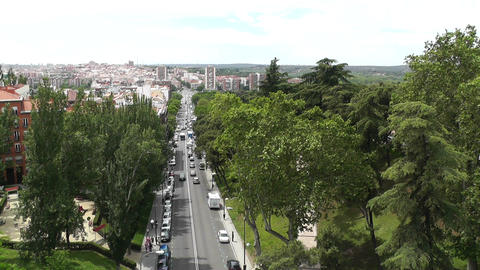 Madrid Calle De Segovia and Skyline 05 highangle Stock Video Footage