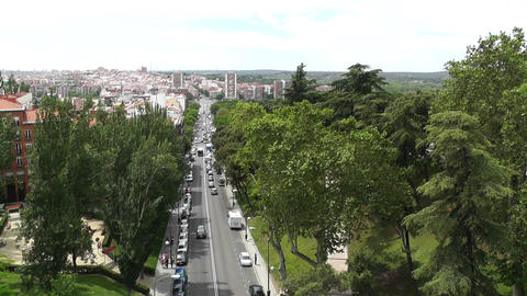 Madrid Calle De Segovia and Skyline 05 highangle Footage