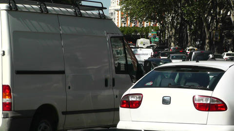 Madrid Cuesta De San Vicente 02 traffic Stock Video Footage