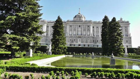 Madrid Jardines De Sabatini and The Palazzo Reale 01 Stock Video Footage