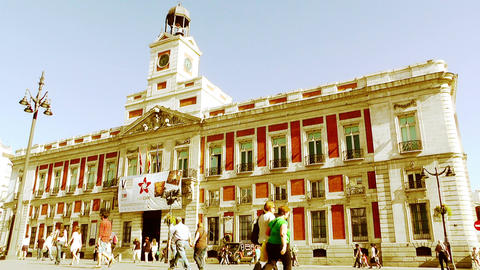 Madrid Plaza De La Puerta Del Sol 04 stylized Stock Video Footage