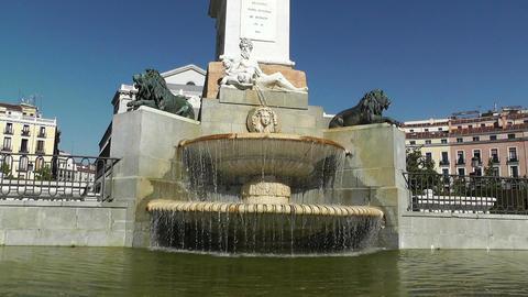 Madrid Plaza De Oriente 03 fountain Stock Video Footage