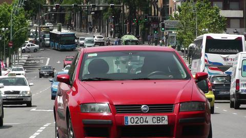 Madrid Puente De Segovia 05 heat mirage Stock Video Footage