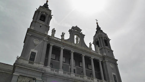 Madrid Santa Maria Almudena 03 lowangle Stock Video Footage