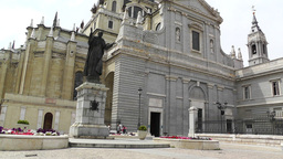 Madrid Santa Maria Almudena and Statue of Pope John Paul II 01 Footage