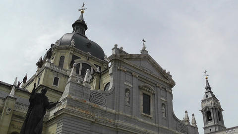 Madrid Santa Maria Almudena and Statue of Pope John Paul... Stock Video Footage