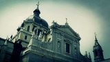 Madrid Santa Maria Almudena and Statue of Pope John Paul II 07 stylized Footage