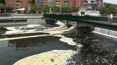 River Manzares Pollution Madrid Stock Video Footage